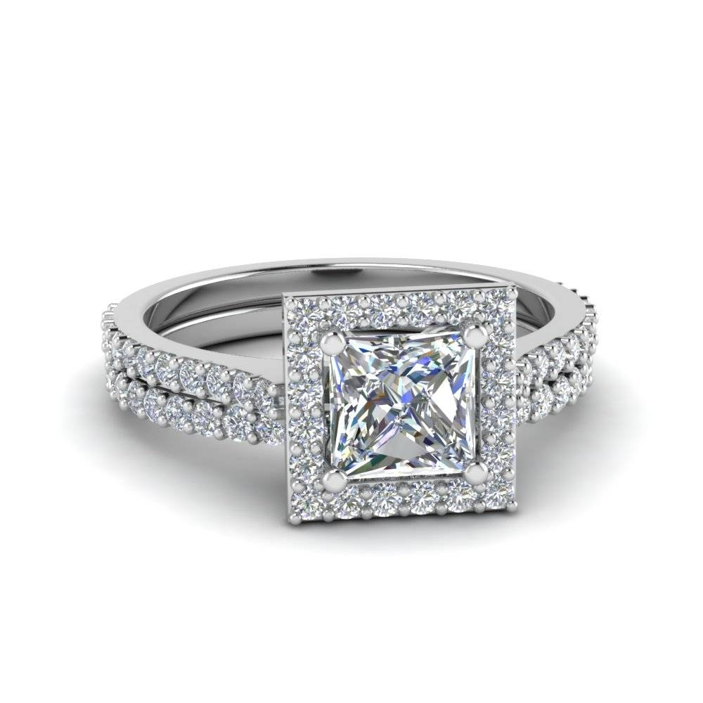 Square Halo Princess Cut Diamond Bridal Set In 14K White Gold Regarding Halo Diamond Wedding Band Sets (View 13 of 15)
