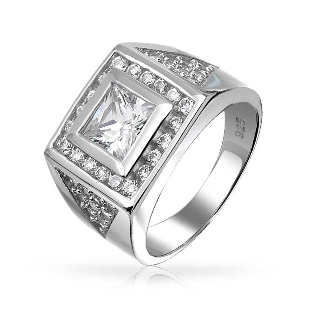Square Princess Cut Cz Pave Triangles Mens Engagament Ring Silver Throughout Silver Mens Wedding Rings (View 8 of 15)
