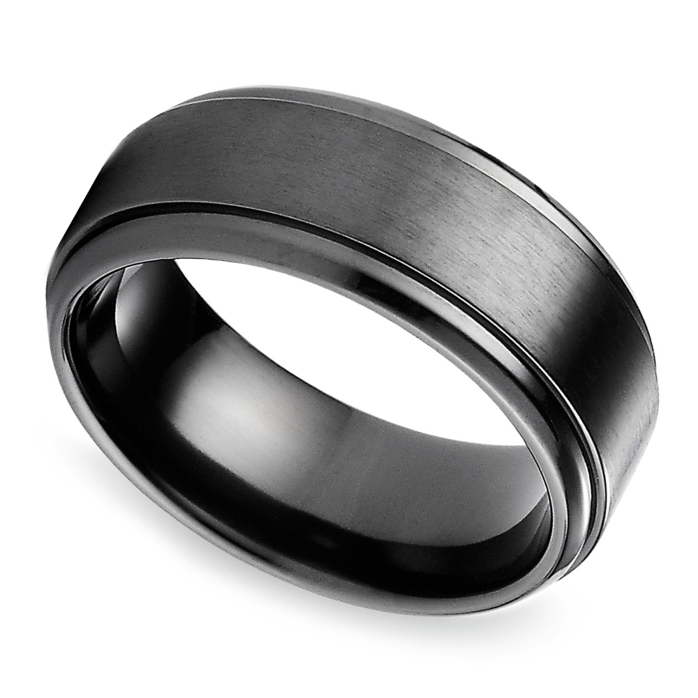 Step Edge Men's Wedding Ring In Black Titanium Regarding Titanium Men Wedding Bands (View 7 of 15)