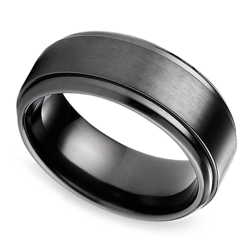 Step Edge Men's Wedding Ring In Black Titanium Regarding Titanium Men Wedding Bands (View 9 of 15)