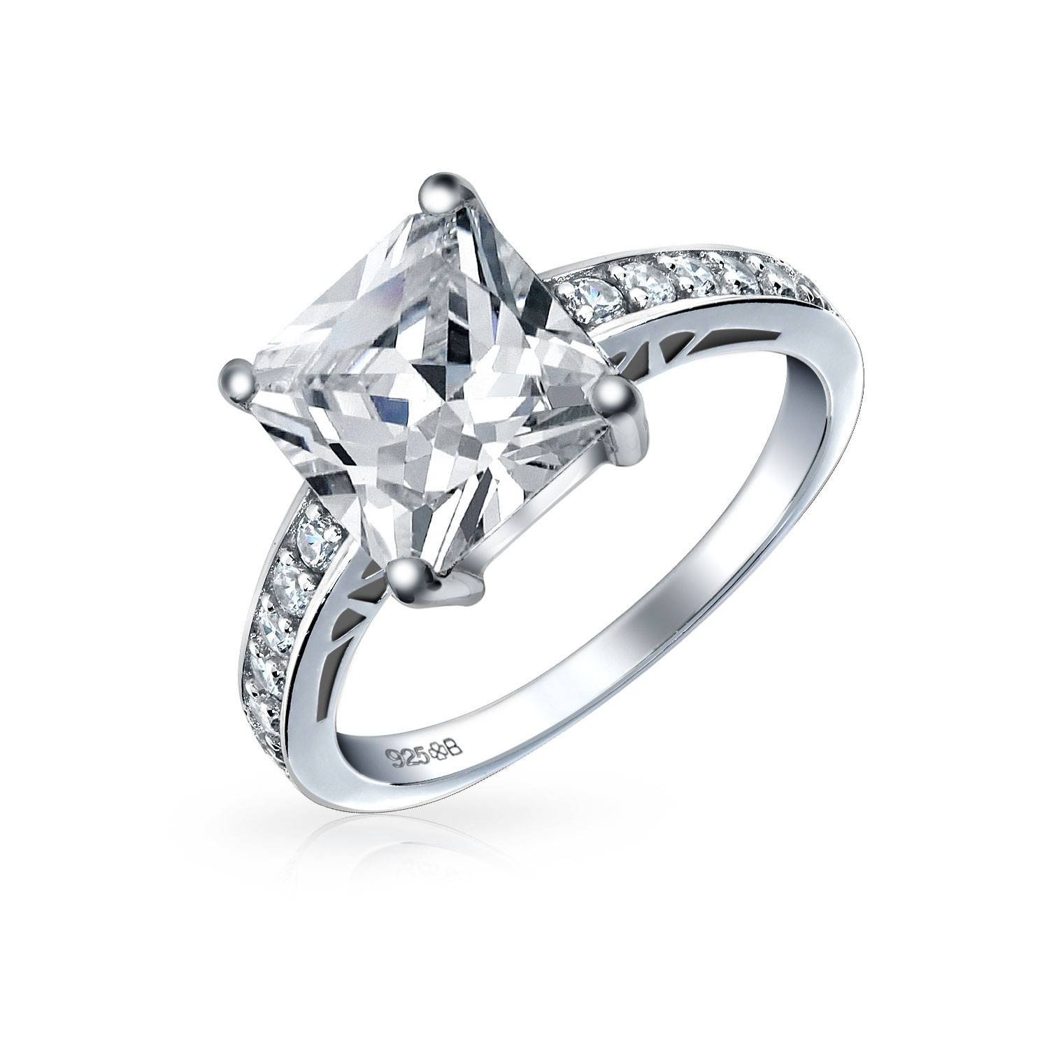 Sterling Silver 2.9 Ct Princess Cut Cz Engagement Ring Pertaining To Silver Princess Cut Diamond Engagement Rings (Gallery 3 of 15)