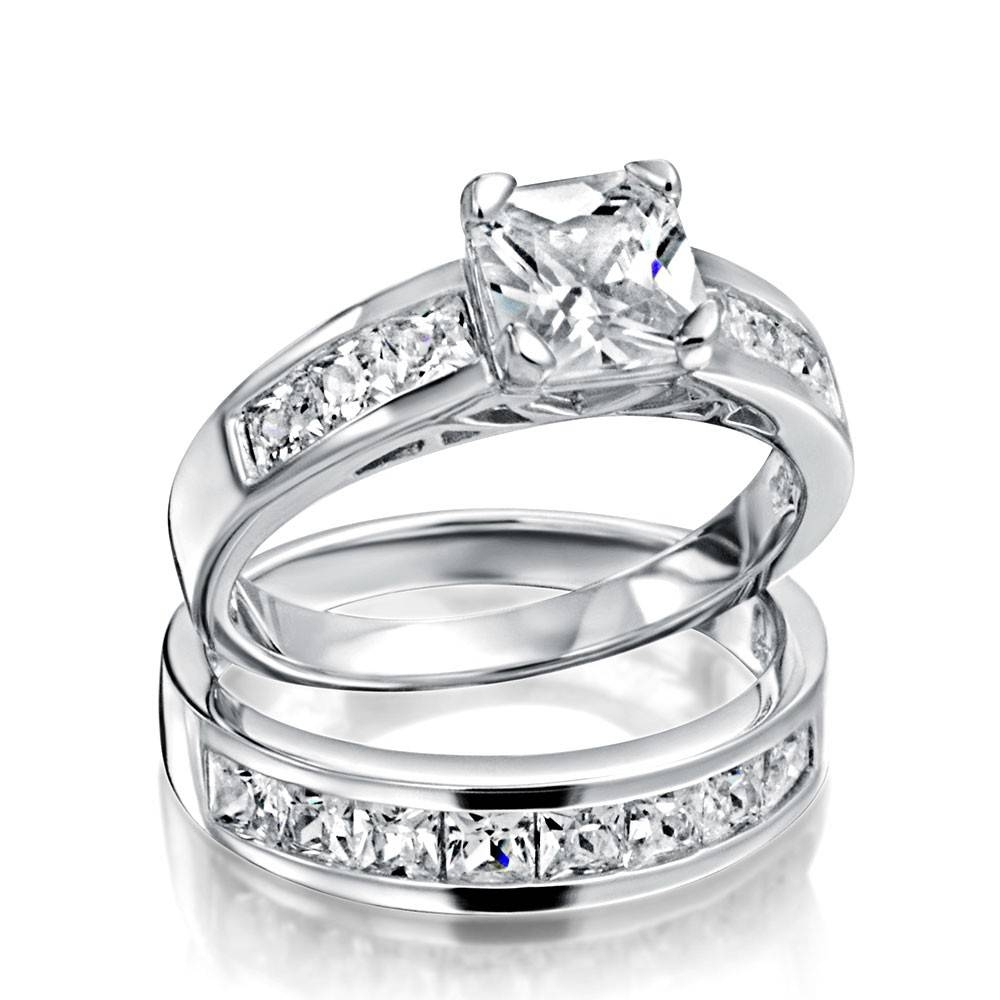 Sterling Silver 2ct Cz Princess Cut Engagement Wedding Ring Set With Womens Sterling Silver Wedding Bands (View 8 of 15)