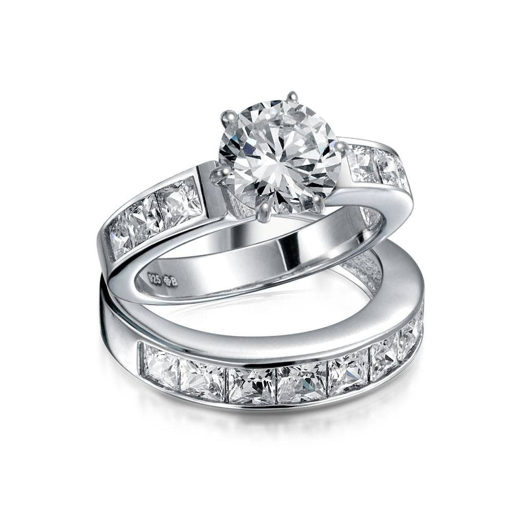 Sterling Silver 2Ct Round Cz Princess Engagement Wedding Ring Set Pertaining To 4 Diamond Wedding Bands (View 11 of 15)