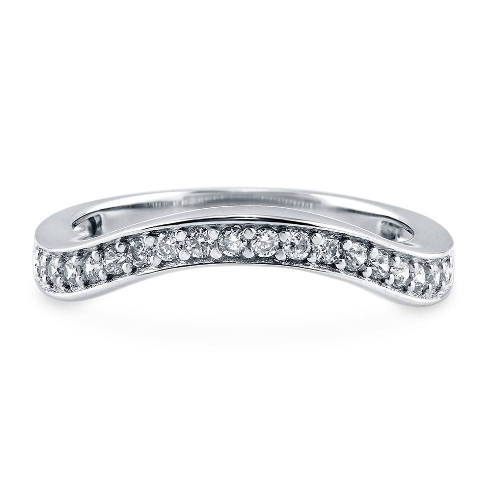 Sterling Silver Cubic Zirconia Cz Stackable Curved Half Eternity With Platinum Cubic Zirconia Wedding Rings (View 4 of 15)
