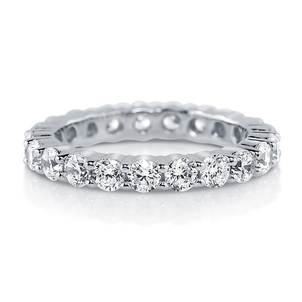 Sterling Silver Cubic Zirconia Cz Stackable Eternity Ring #r448 Regarding Platinum Cubic Zirconia Wedding Rings (View 13 of 15)