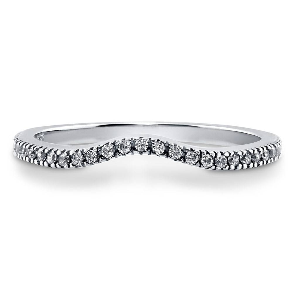 Sterling Silver Cubic Zirconia Cz Wedding Rings & Wedding Bands In Contour Wedding Bands (View 14 of 15)