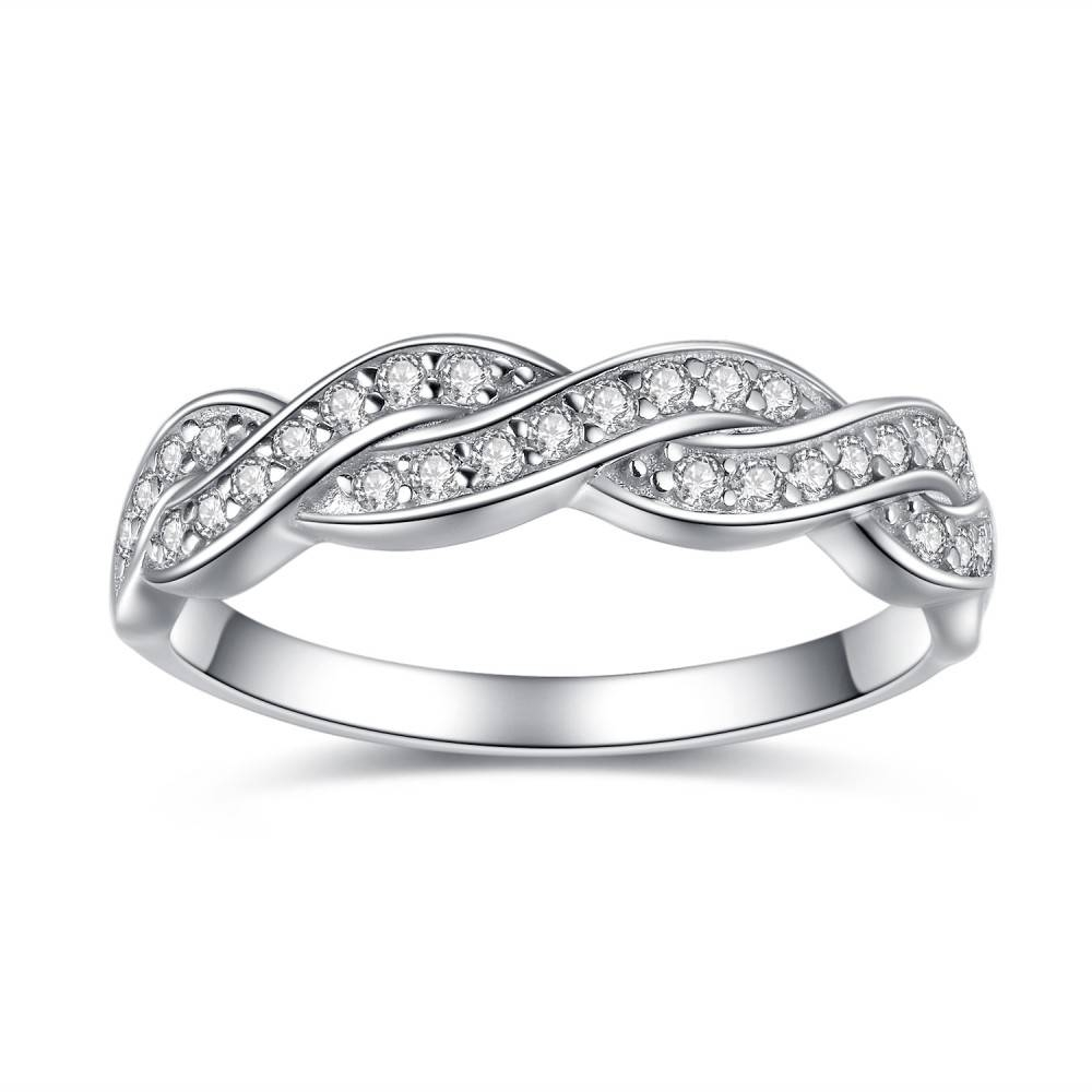 Sterling Silver Cubic Zirconia Round Cut Infinity Women's Wedding Intended For Womens Silver Wedding Bands (View 2 of 15)