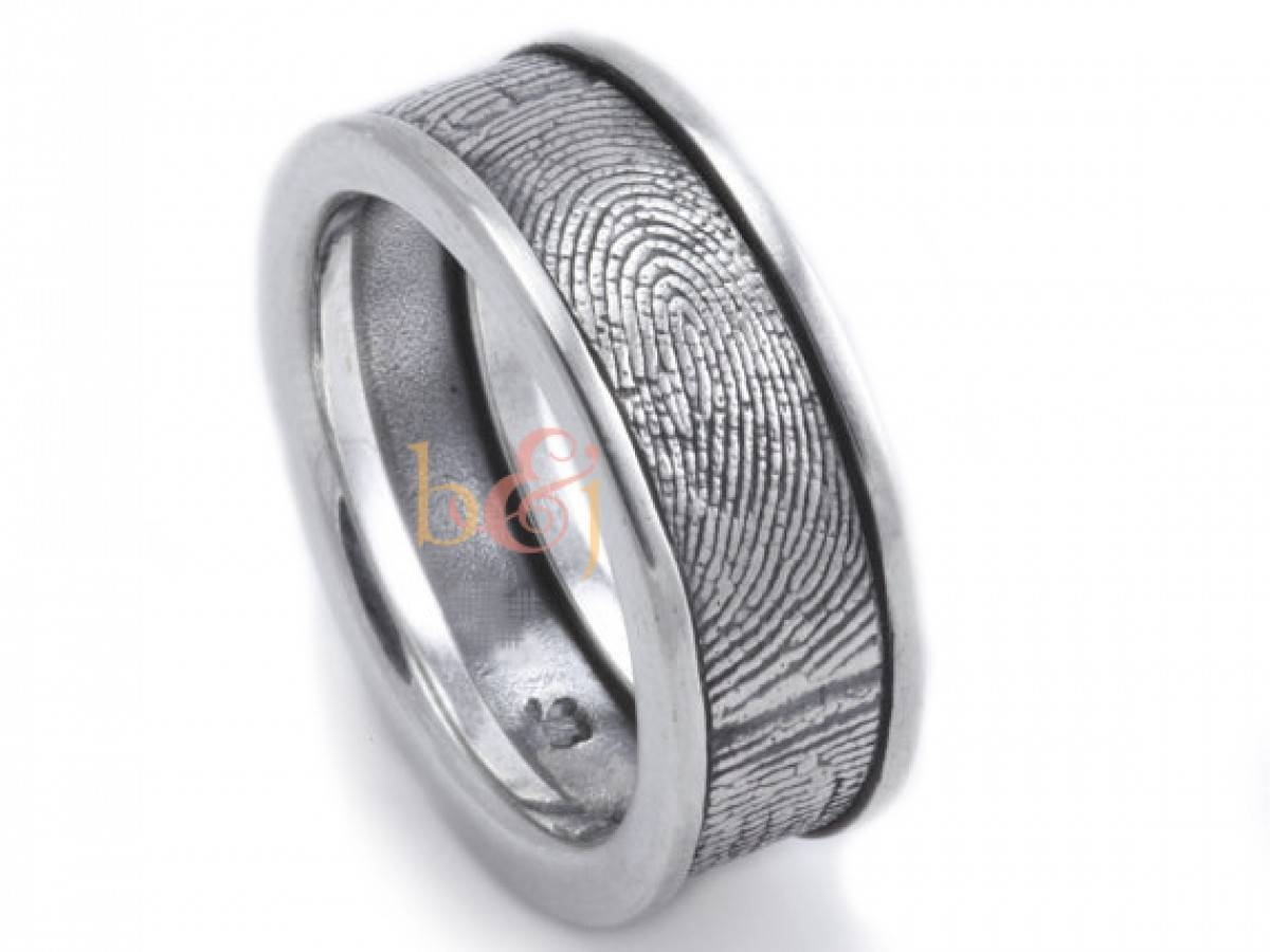 Sterling Silver Custom Fingerprint Wedding Band With Side Rims In Fingerprint Wedding Bands (View 13 of 15)