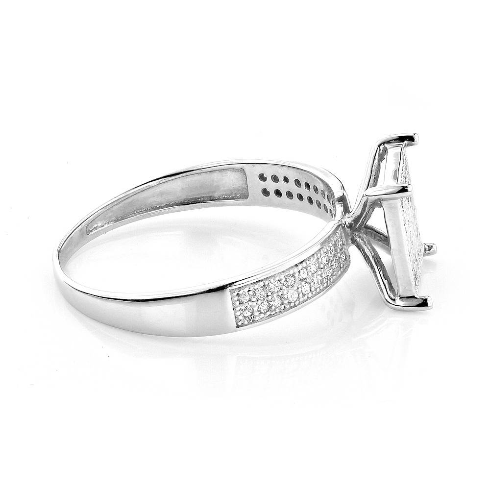 Sterling Silver Diamond Engagement Ring  (View 12 of 15)