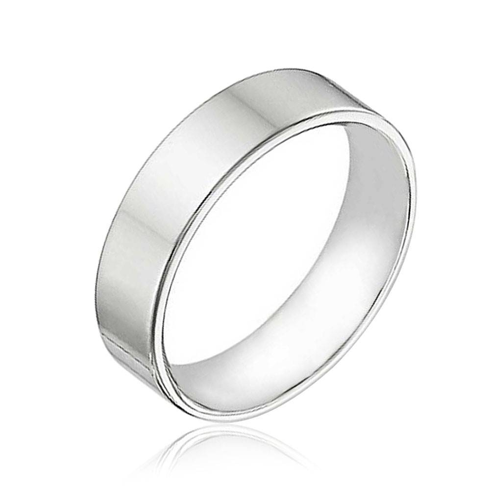 Sterling Silver Flat Wedding Band Ring Unisex 6mm For Most Popular Mens Flat Wedding Bands (View 15 of 15)