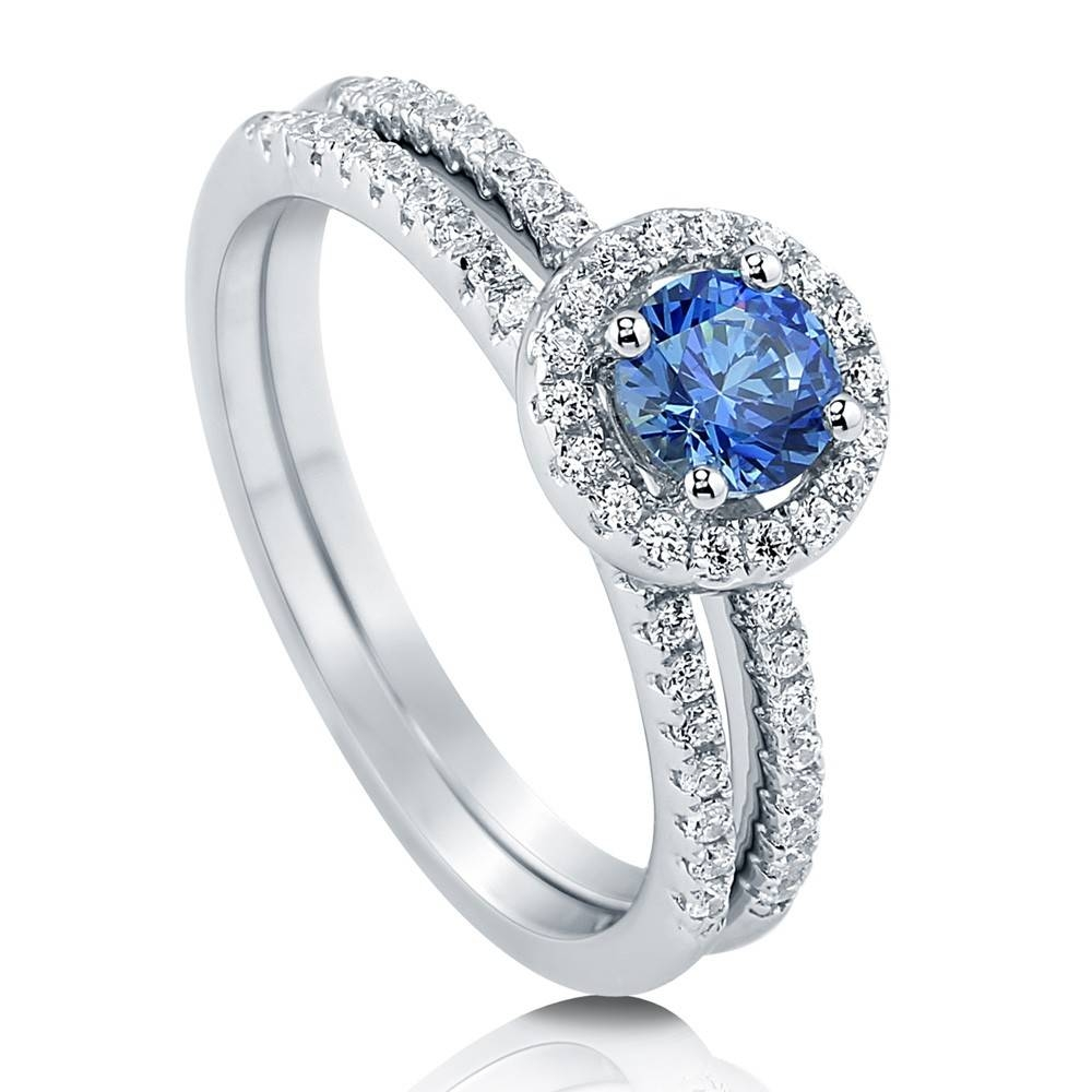 Sterling Silver Halo Engagement Stackable Ring Set #r833 In Swarovski Wedding Bands (Gallery 3 of 15)