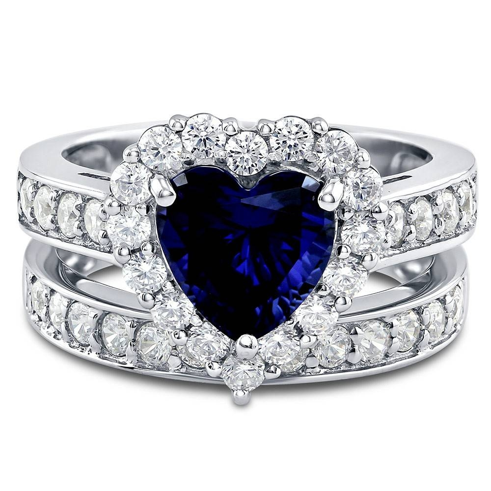 Sterling Silver Heart Shaped Simulated Blue Sapphire Cubic Inside Blue Heart Engagement Rings (View 3 of 15)