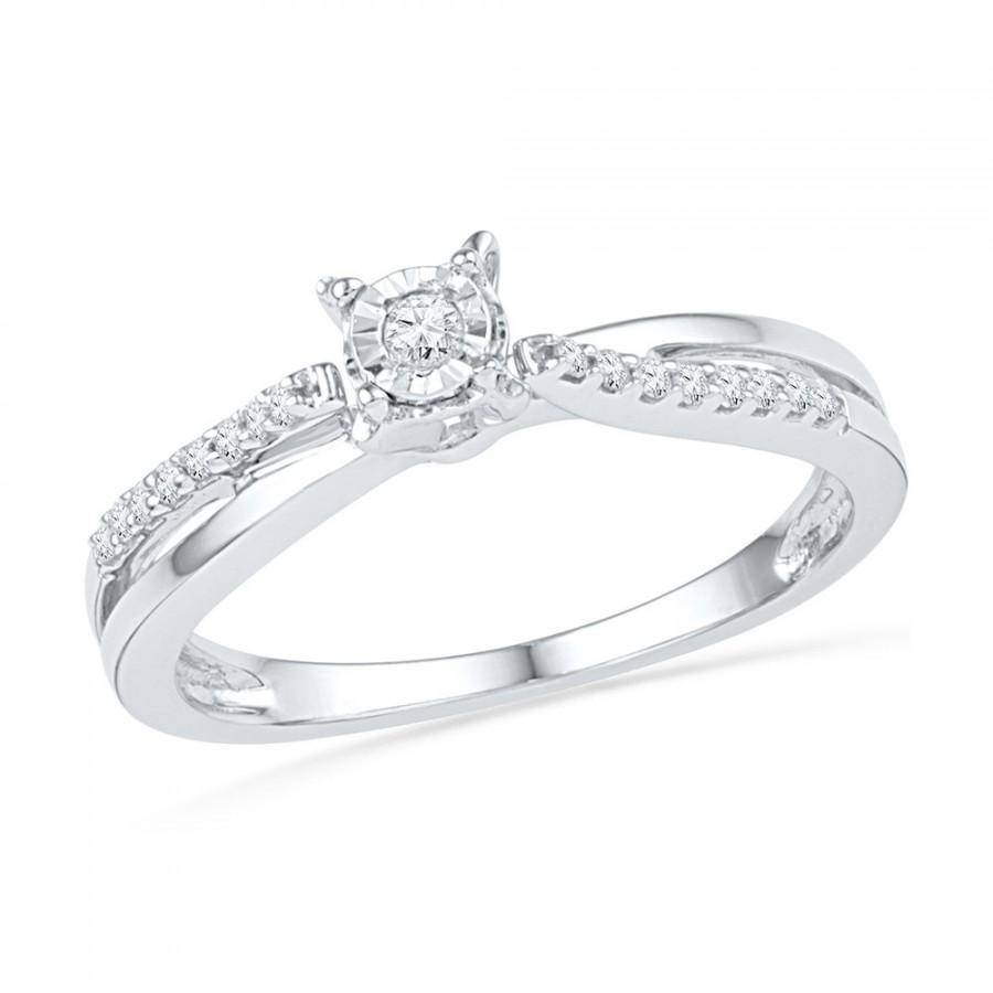 Sterling Silver Or White Gold 1/4 Ct. Tw. Diamond Engagement Ring Intended For Silver Diamond Wedding Rings (Gallery 11 of 15)