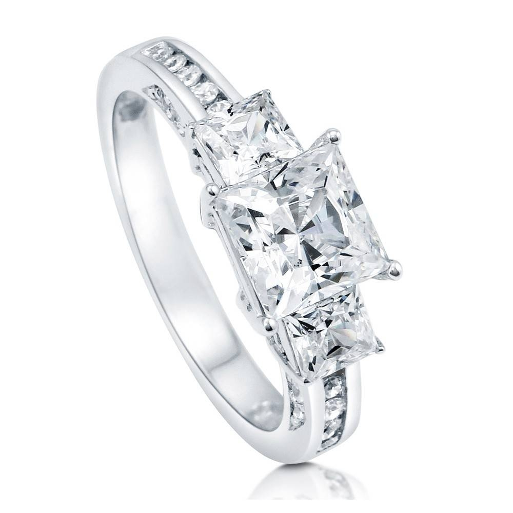 Sterling Silver Princess Cubic Zirconia Cz 3 Stone Promise With Regard To Silver Princess Cut Diamond Engagement Rings (Gallery 10 of 15)