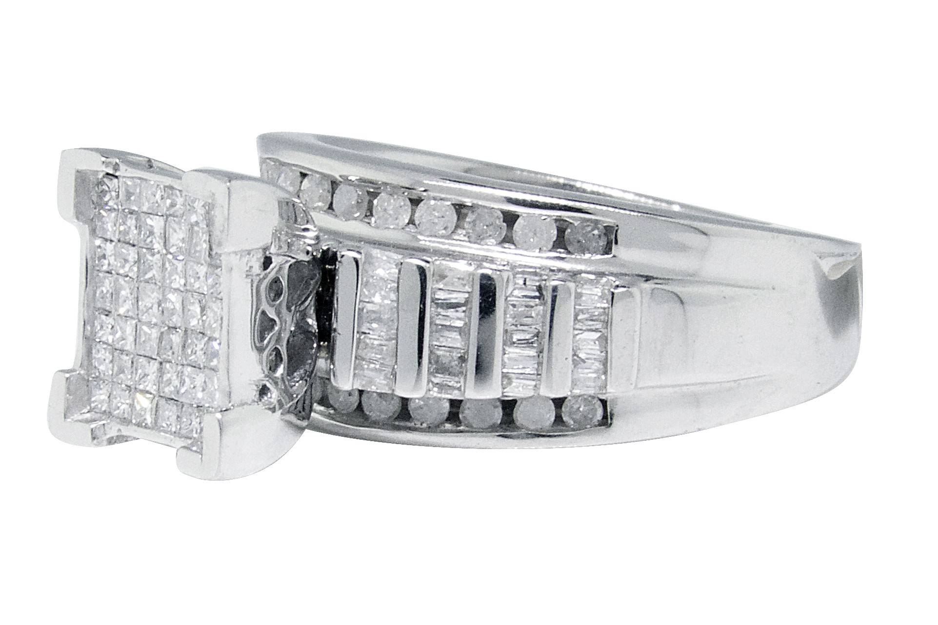 Sterling Silver Princess Cut Diamond Engagement Ring ( (View 14 of 15)