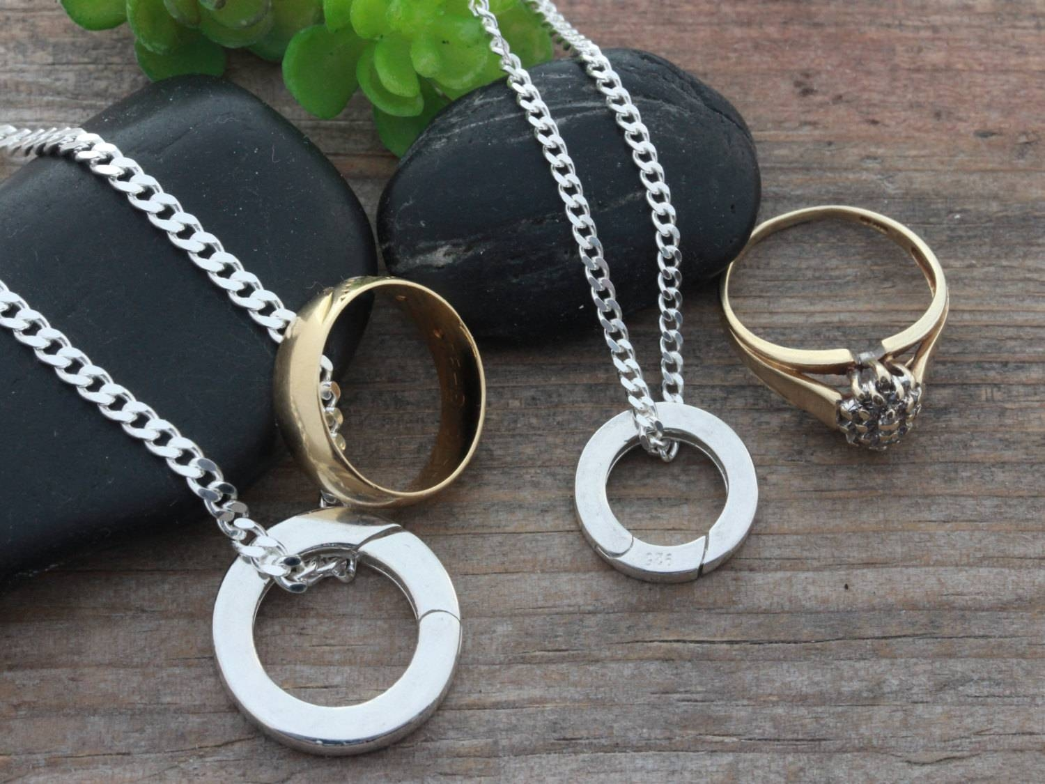 Sterling Silver Ring Holder Necklace Couple Ring Holder Regarding Wedding Bands On Necklace (Gallery 3 of 15)