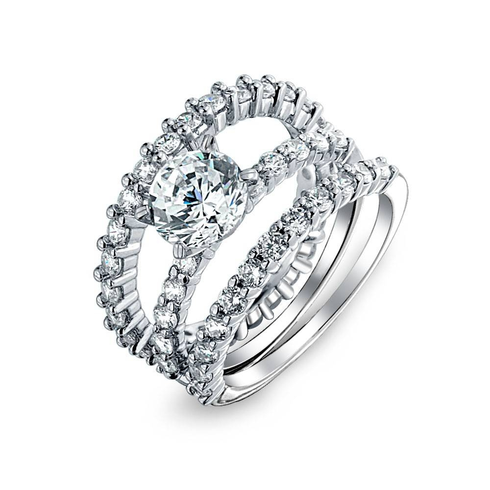 Sterling Silver Round Cut Cz Stackable Engagement Ring Set Throughout 3 Band Engagement Rings (Gallery 2 of 15)