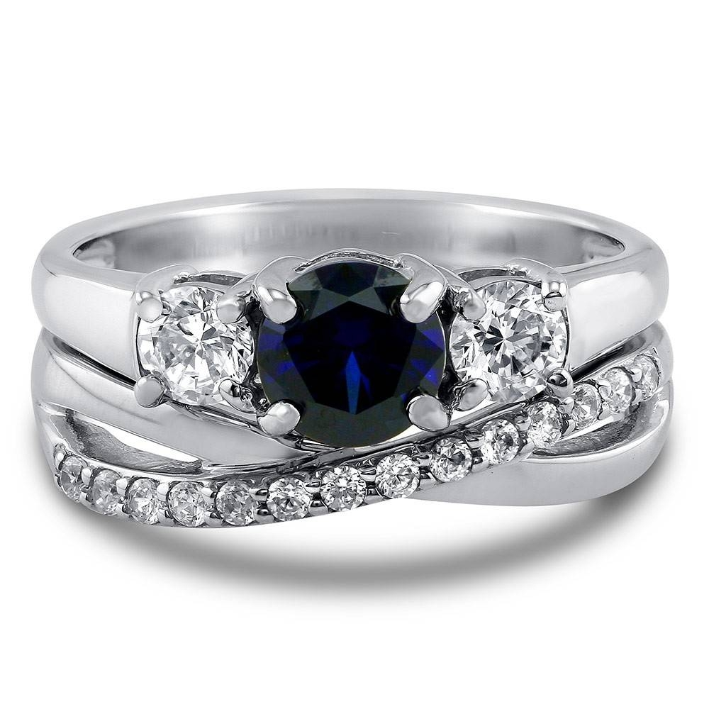Sterling Silver Round Simulated Blue Sapphire Cubic Zirconia Cz 3 Pertaining To Black Stone Wedding Rings (View 12 of 15)