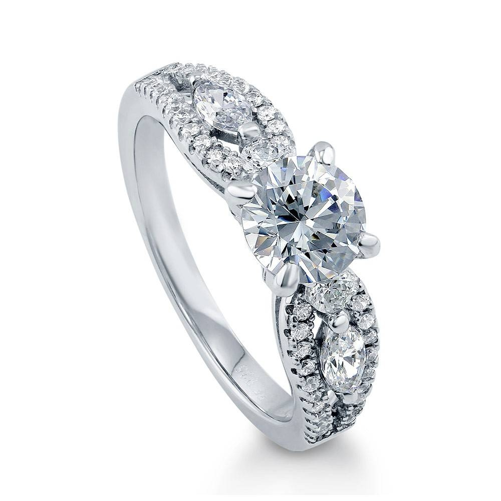 Sterling Silver Solitaire Promise Engagement Ring #r911 With Swarovski Wedding Bands (View 8 of 15)