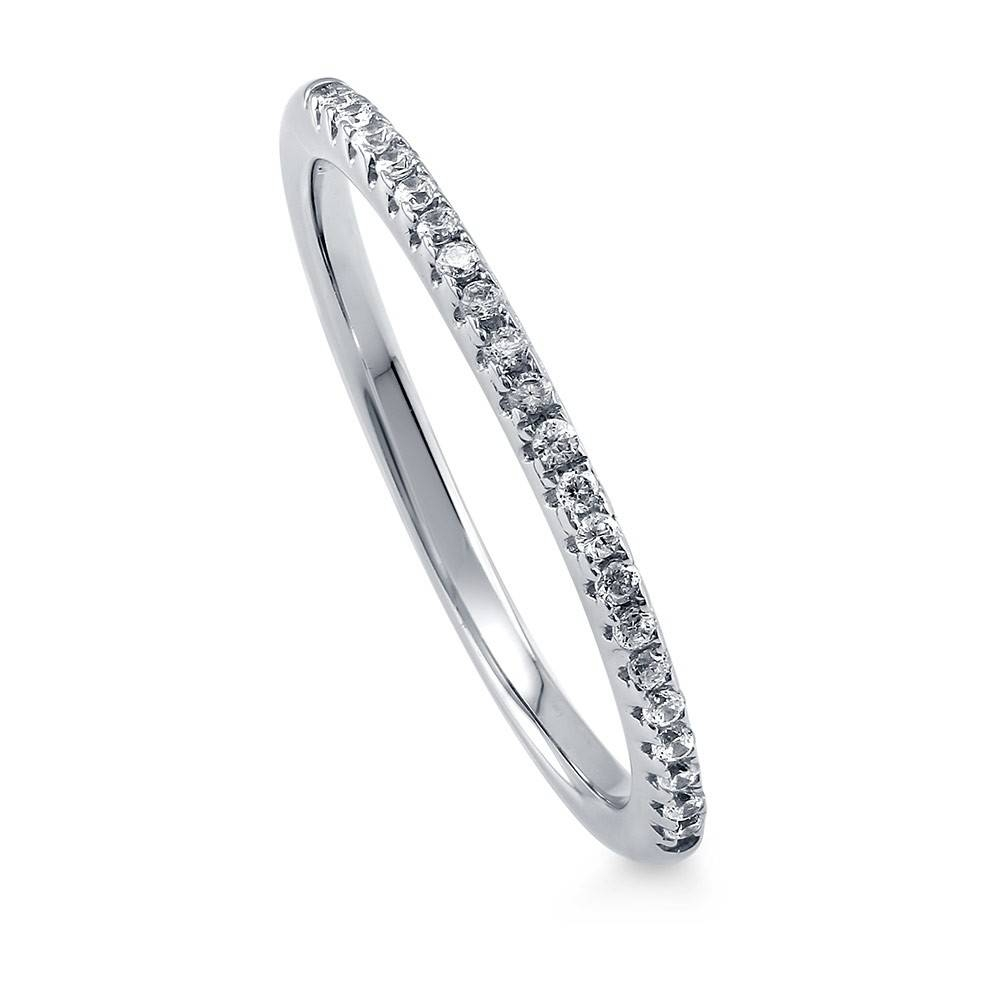 Sterling Silver Stackable Half Eternity Ring #r831 With Swarovski Wedding Bands (View 5 of 15)