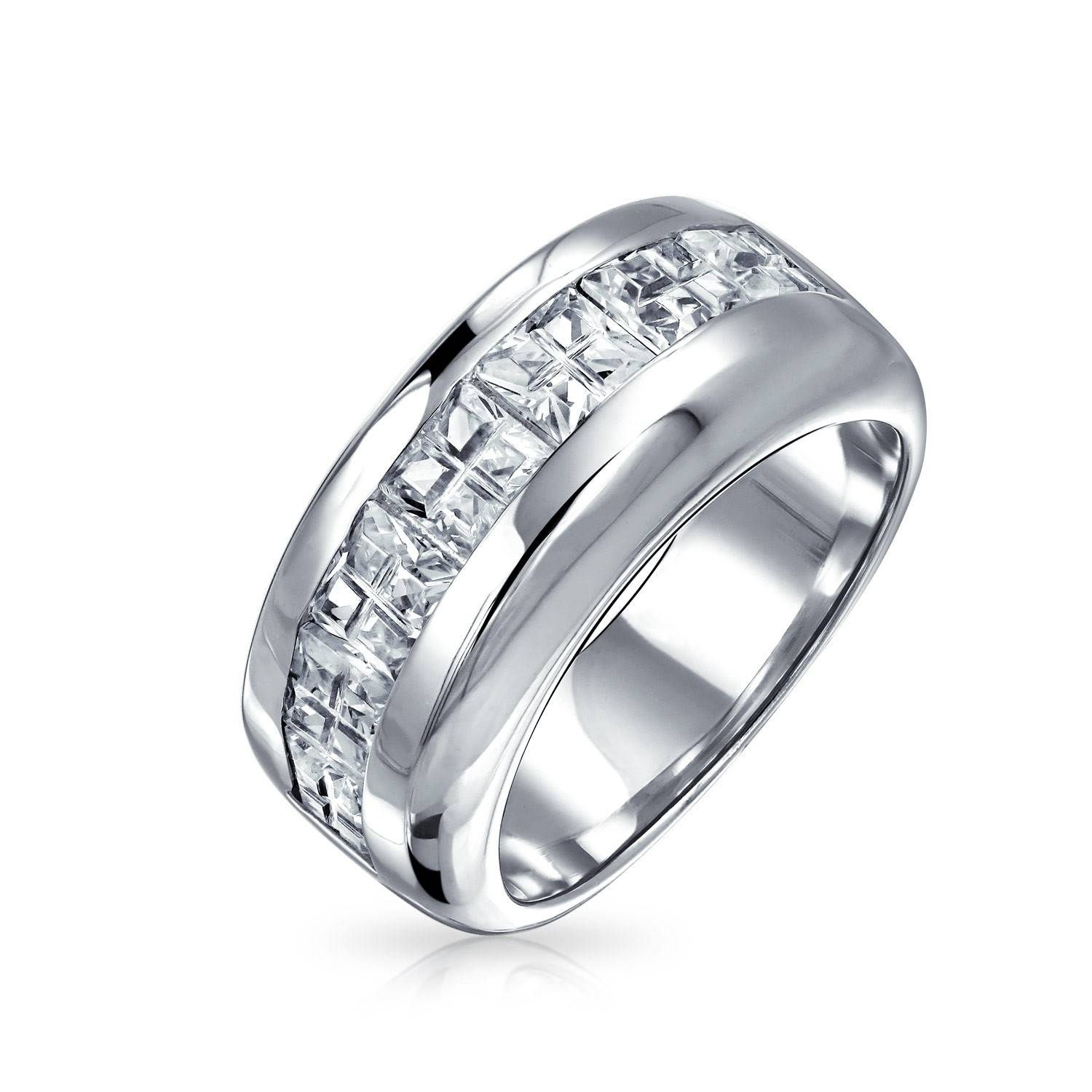 Sterling Silver Wedding Band Invisible Cut Cz Unisex Mens Ring Intended For Mens Sterling Wedding Bands (View 2 of 15)