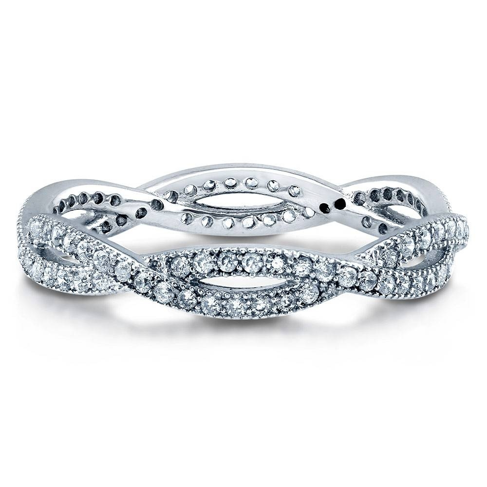 Sterling Silver Woven Stackable Eternity Ring #r907 Throughout Swarovski Wedding Bands (View 14 of 15)