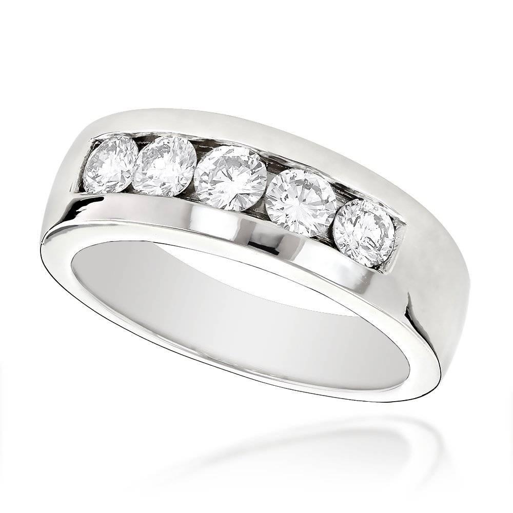 Stone 14K Gold Mens Diamond Wedding Band 1Ct Throughout Current Mens 5 Diamond Wedding Bands (Gallery 1 of 15)