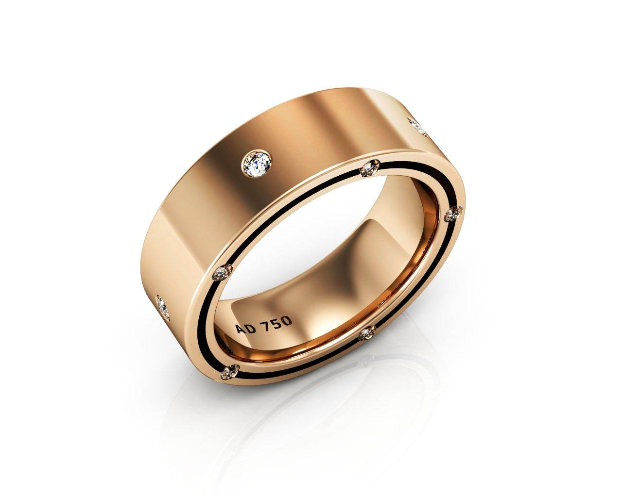 Stone Diamond Rose Gold Men's Wedding Bands Within Rose Gold Men's Wedding Bands With Diamonds (Gallery 218 of 339)