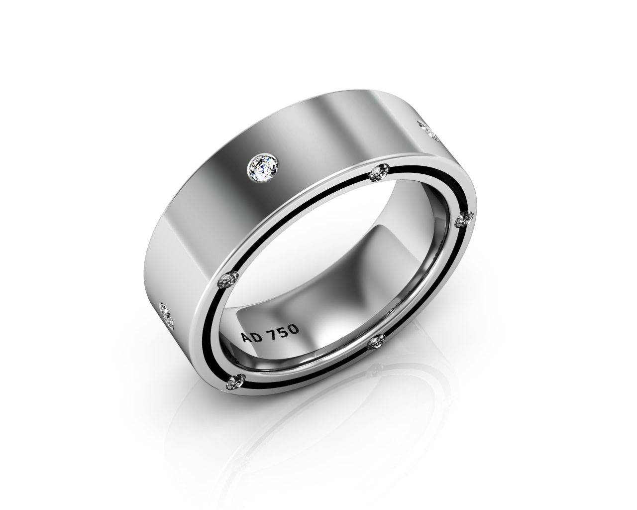 Stone Diamond White Gold Men's Wedding Bands Regarding Most Popular Men White Gold Wedding Band (View 7 of 15)