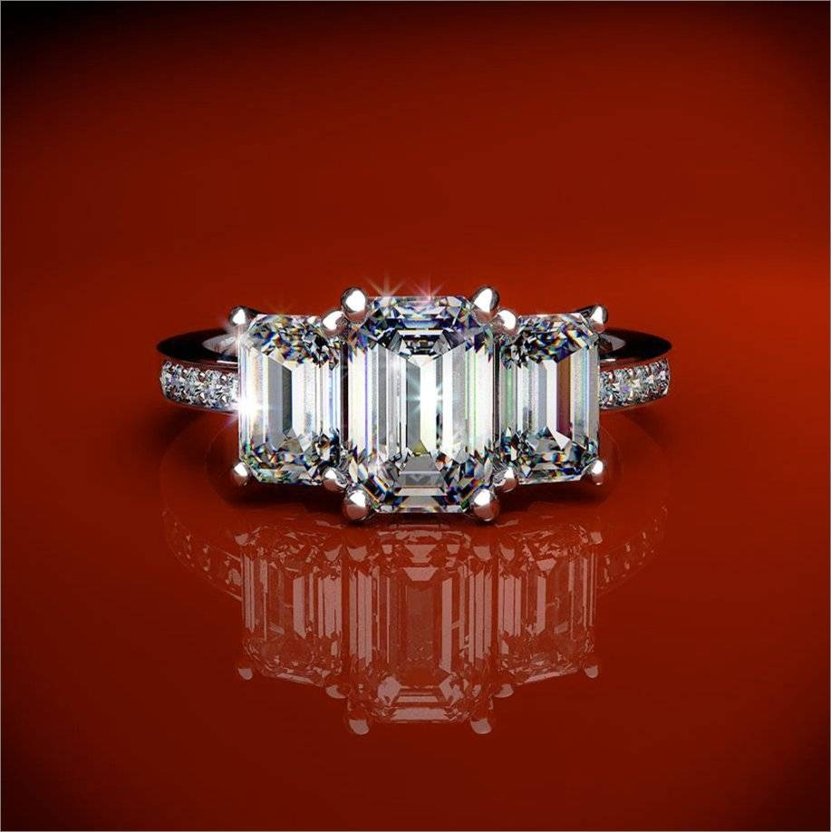 Stone Emerald Cut Diamond And Platinum Engagement Ring Like Kim For 3 Stone Emerald Cut Diamond Engagement Rings (Gallery 15 of 15)