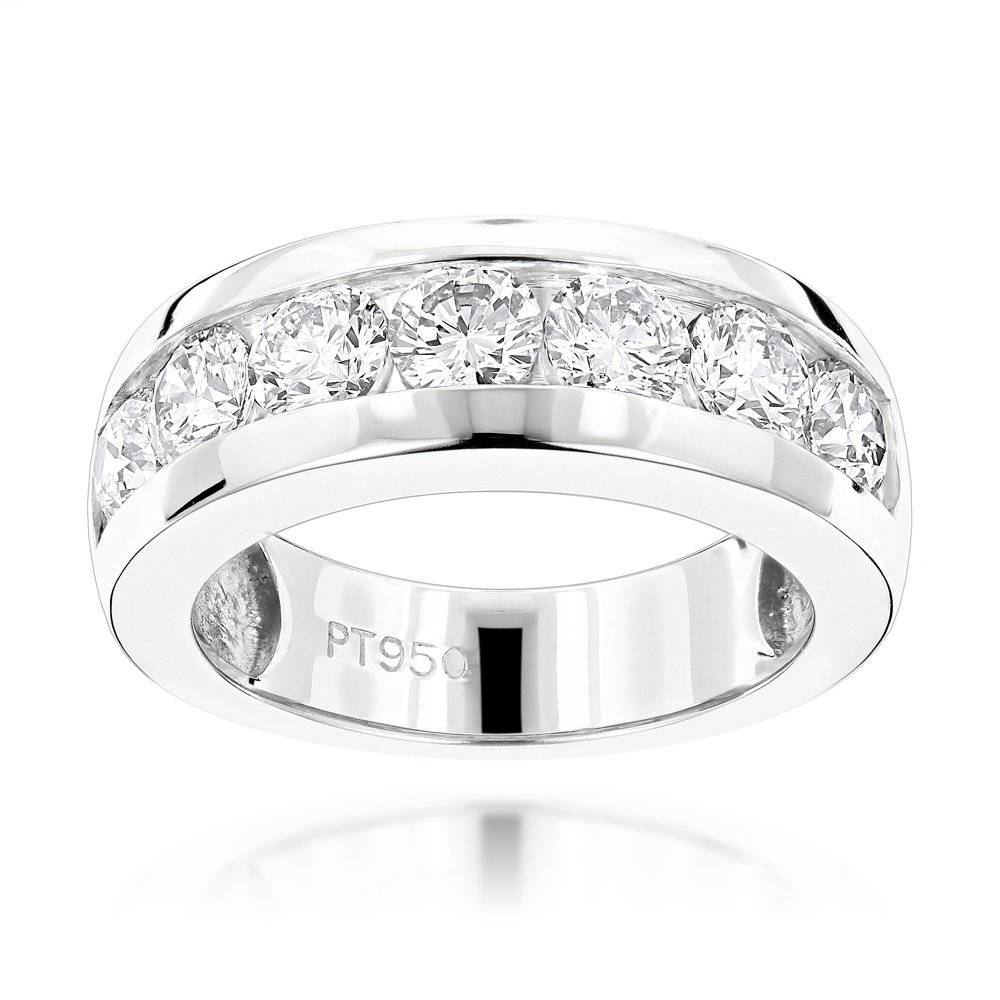 Stone Round Diamond Bands: Platinum Diamond Wedding Ring For Men  (View 10 of 15)