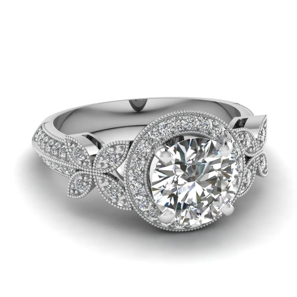 Stunning Round Halo Engagement Rings | Fascinating Diamonds For Butterfly Diamond Engagement Rings (View 6 of 15)