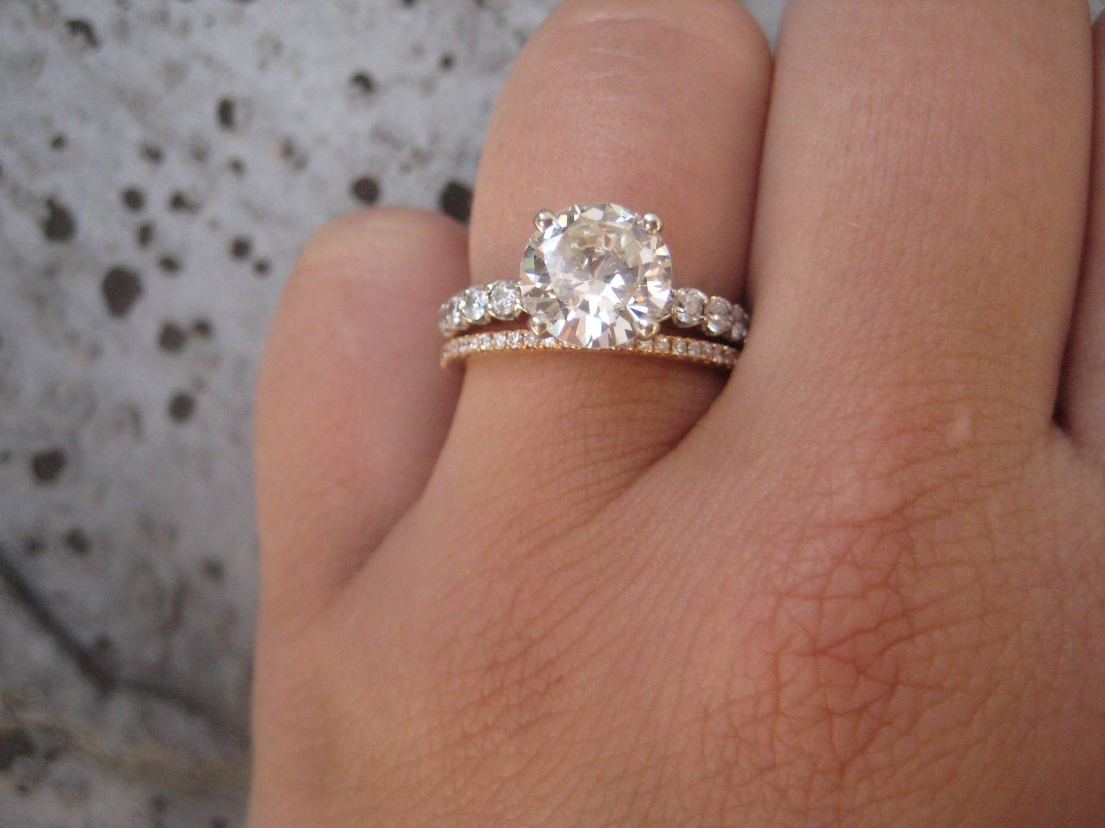 Super Thin Goldrose Gold Wedding Band Engagement Rings Silver Regarding Gold Wedding Bands With Silver Engagement Rings (View 10 of 15)