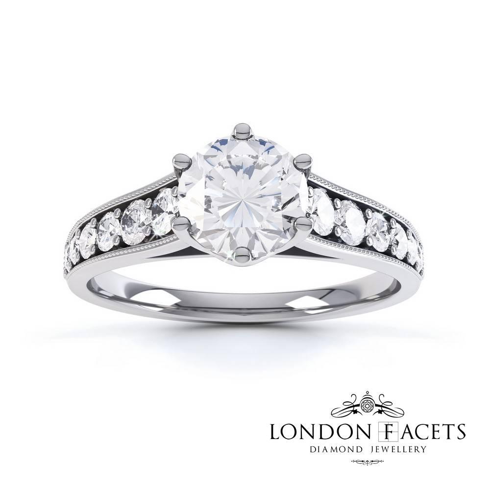 Supriya 18Ct White Gold Diamond Engagement Ring | Diamond And Inside London Gold Engagement Rings (View 13 of 15)