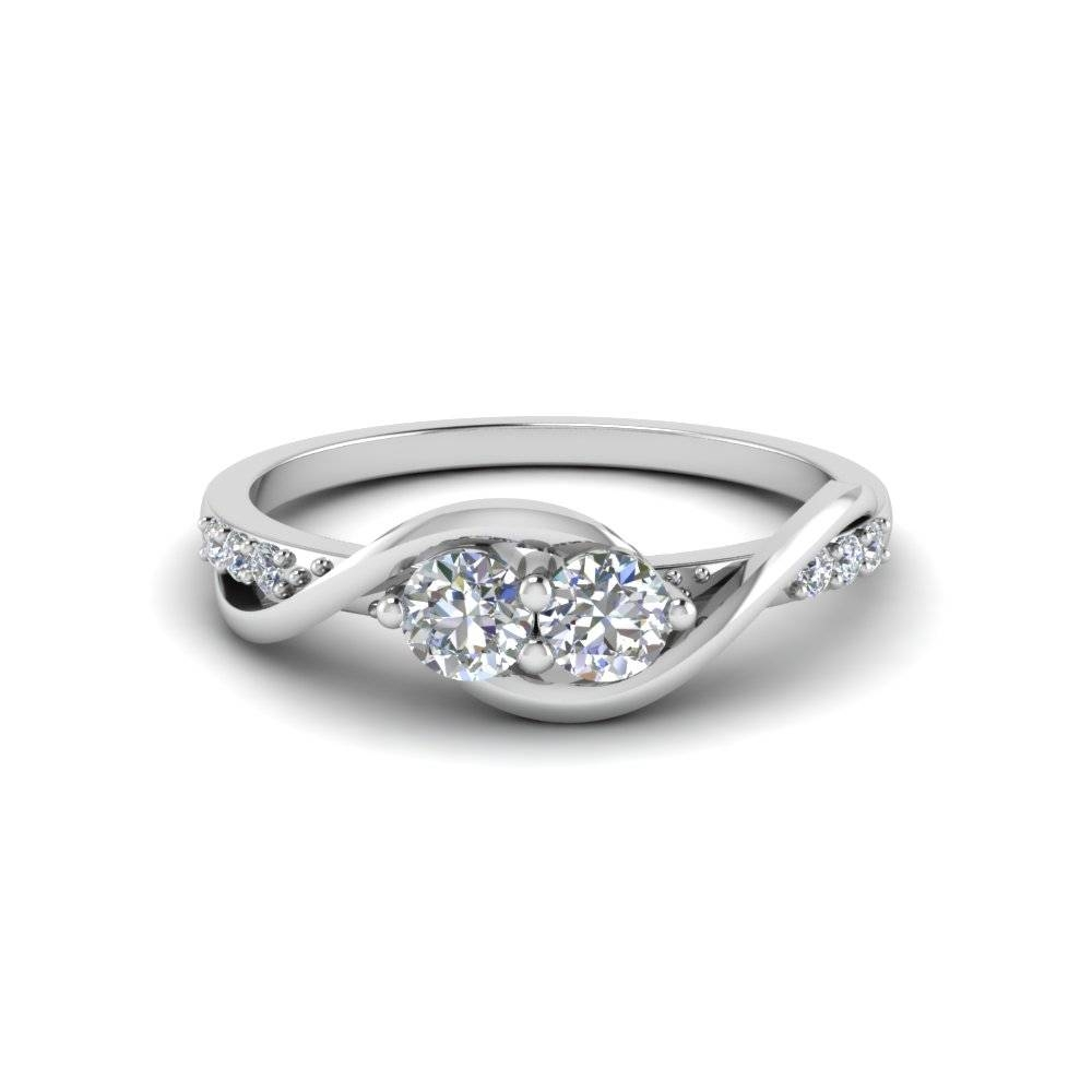 Swirl 2 Stone Diamond Engagement Ring In 18K White Gold Regarding White Gold And Diamond Engagement Rings (View 12 of 15)