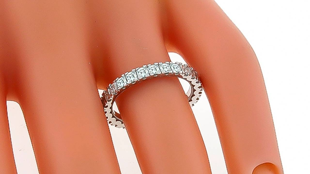 Tacori Asscher Cut Diamond Gold Eternity Wedding Band For Sale At Inside Latest Asscher Cut Wedding Bands (View 13 of 15)