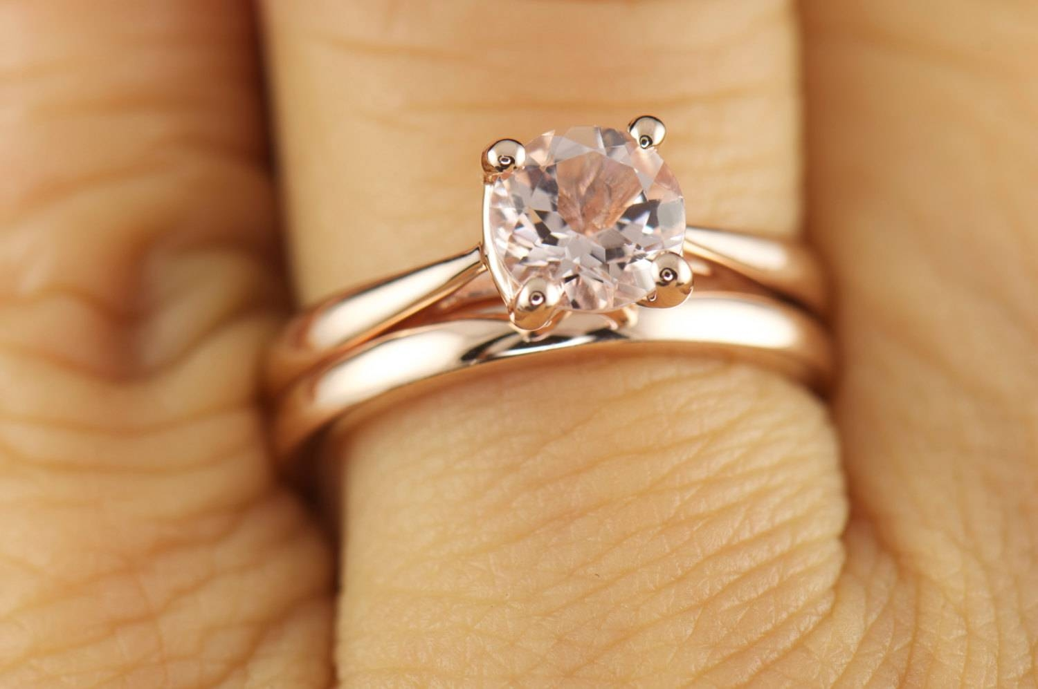Talia & Kelsie Set Morganite Solitaire Engagement Ring In Pertaining To Recent 2mm Rose Gold Wedding Bands (View 11 of 15)