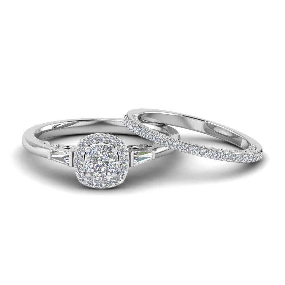Tapered Baguette Wedding Sets Engagement Rings | Fascinating Diamonds Pertaining To Halo Diamond Wedding Band Sets (View 14 of 15)