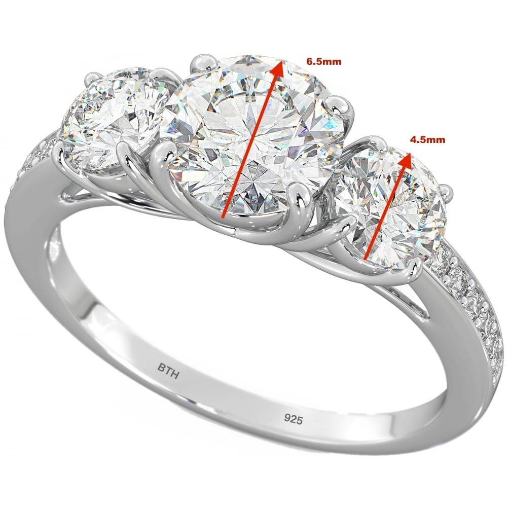 Temptations Of Eden Stunning Sterling Silver 3 Stone Engagement Ring In 3 Band Engagement Rings (Gallery 14 of 15)