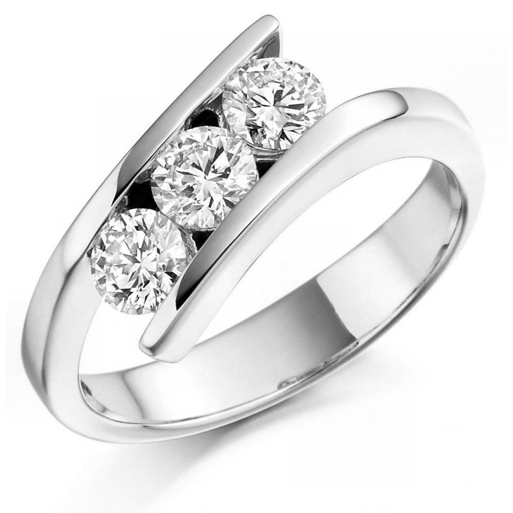 The Raphael Collection Platinum 1.00Ct 3 Stone Round Brilliant Cut Intended For 3 Stone Platinum Engagement Rings (Gallery 11 of 15)