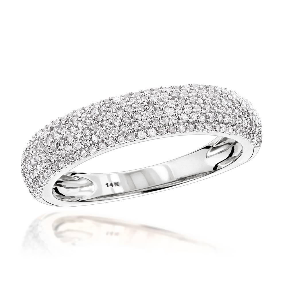 Thin 14K Gold Micro Pave Diamond Wedding Band For Women  (View 11 of 15)