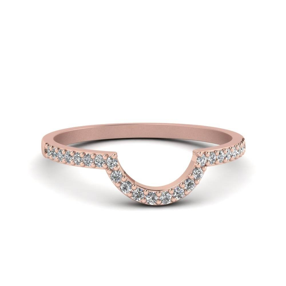 Thin Curve Diamond Band In 14K Rose Gold | Fascinating Diamonds For Rose Gold Womens Wedding Bands (View 13 of 15)