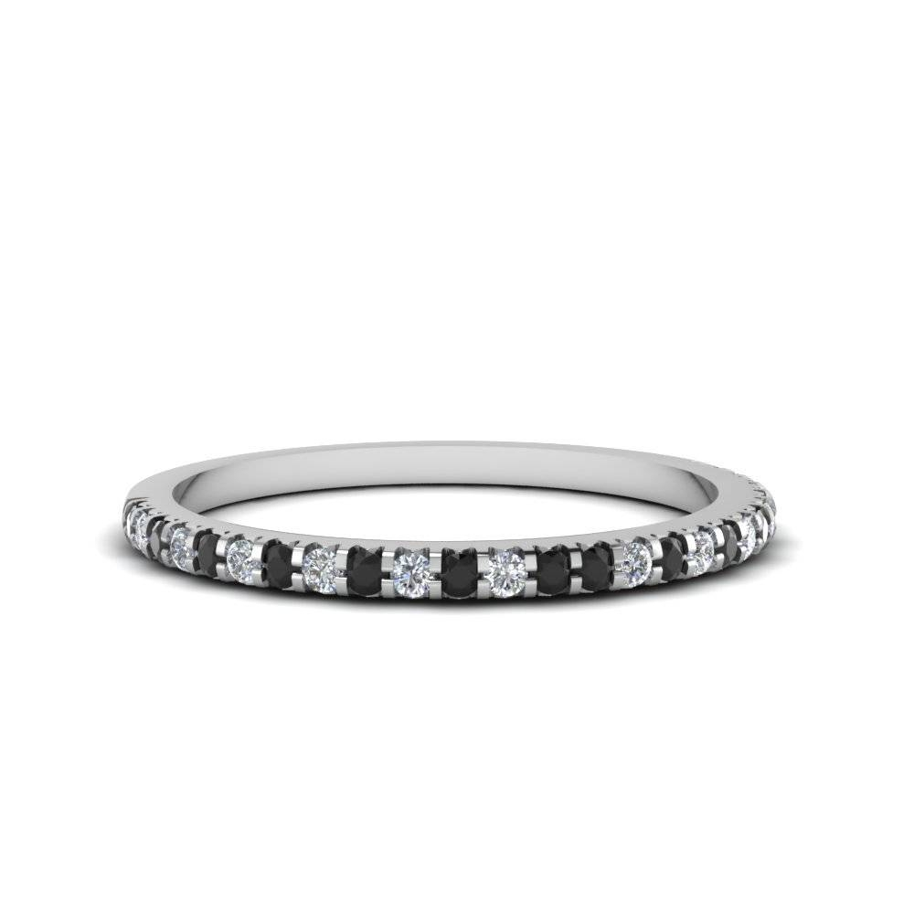 Thin Round Band With Black Diamond In 14K White Gold | Fascinating Inside Thin Wedding Bands For Women (Gallery 1 of 15)