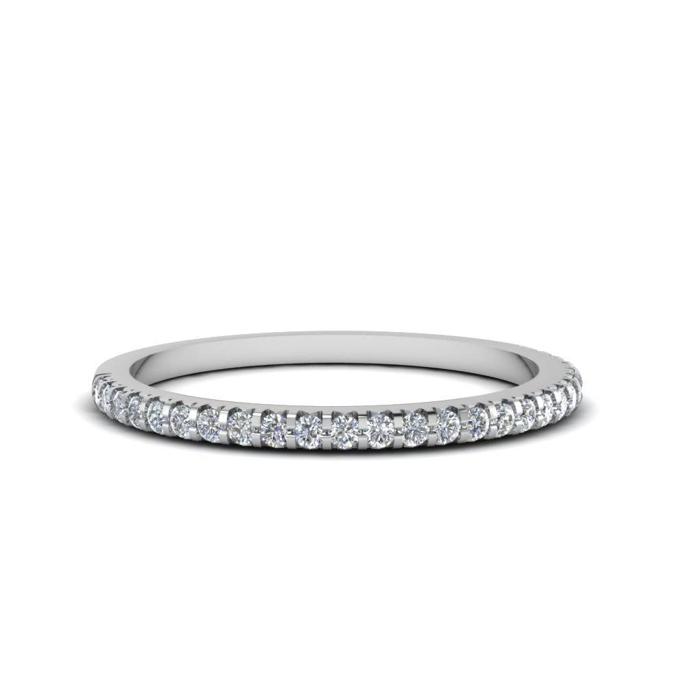Thin Round Diamond Band In 14K White Gold | Fascinating Diamonds Inside Women's Wedding Bands (Gallery 246 of 339)