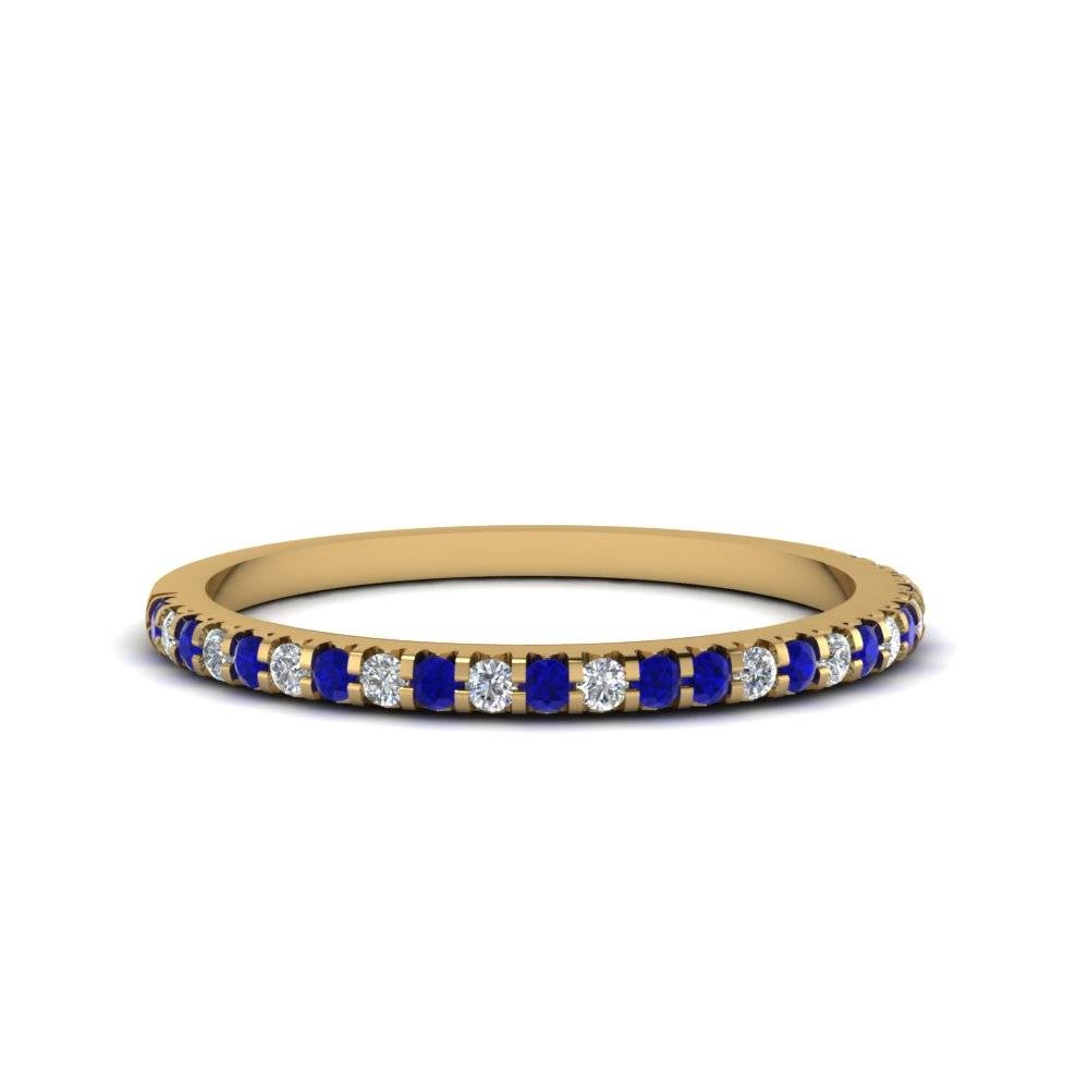 Thin Round Diamond Band With Sapphire In 18k Yellow Gold Pertaining To White And Yellow Gold Wedding Bands (View 9 of 15)