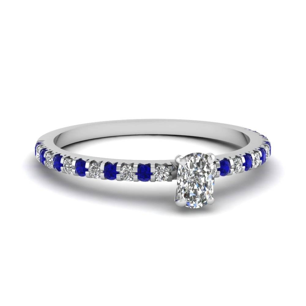 Thin Round Diamond Band With Sapphire In 18K Yellow Gold With Regard To Curved Sapphire Wedding Bands (Gallery 13 of 15)
