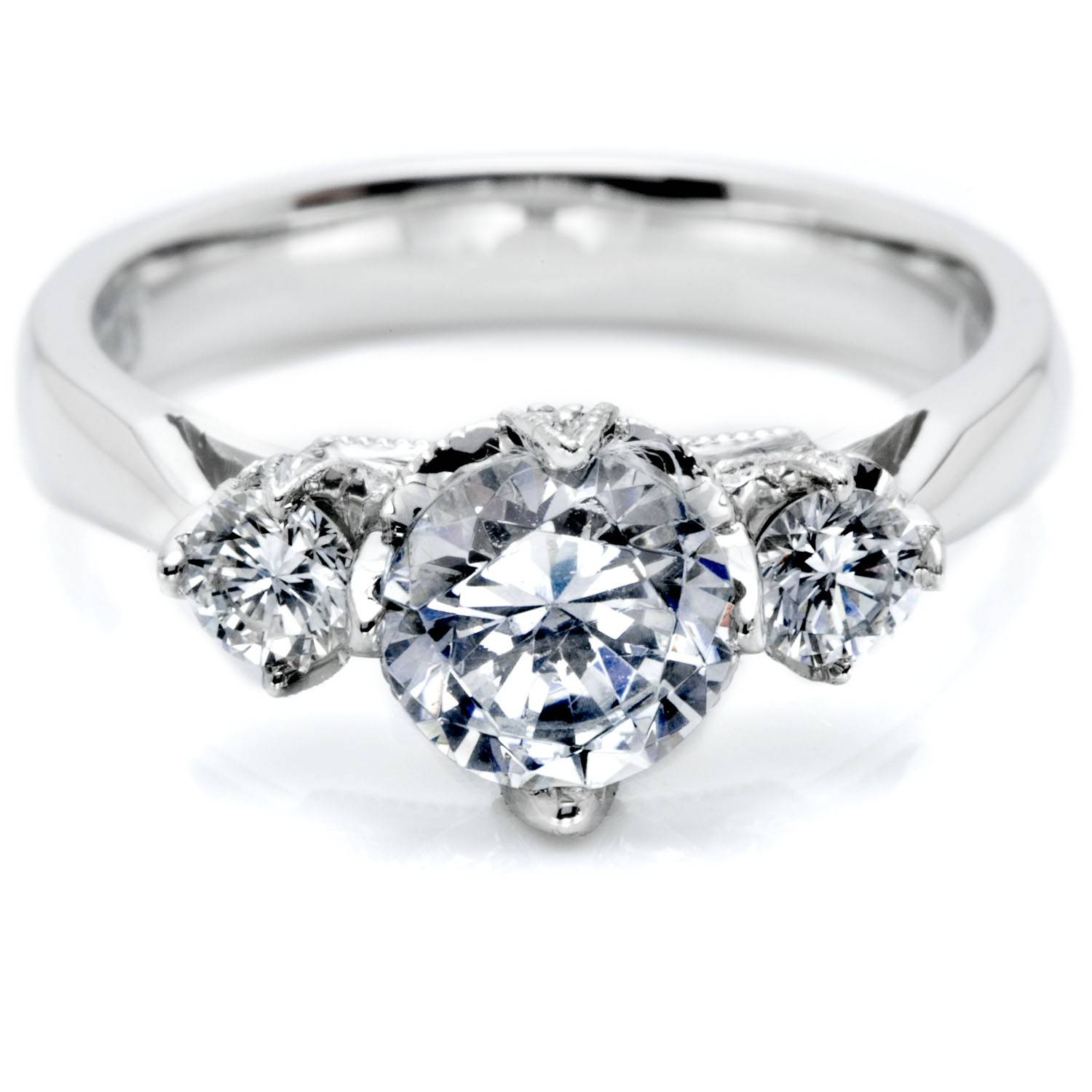 Three Stone Diamond Rings Regarding Three Stone Engagement Rings With Side Stones (View 8 of 15)