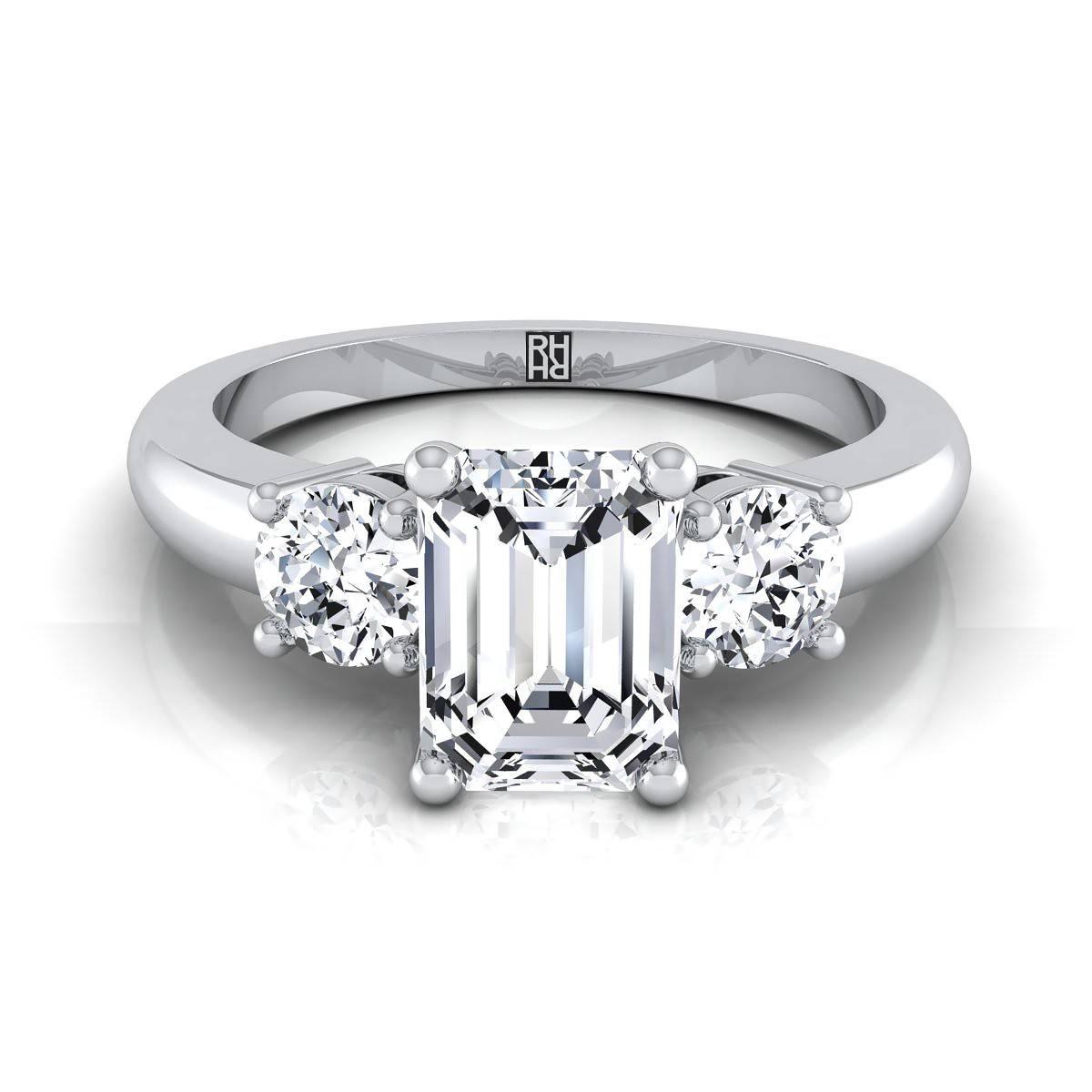 Three Stone Emerald Diamond Center Engagement Ring Platinum | Rockher Regarding 3 Stone Emerald Cut Diamond Engagement Rings (View 14 of 15)