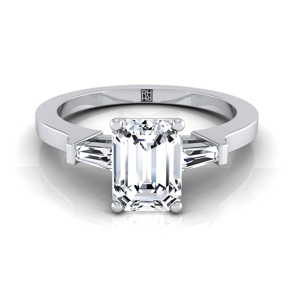 Three Stone Emerald Diamond Tapered Baguette Engagement Ring 14K Within Emerald Cut Engagement Rings Baguettes (View 14 of 15)