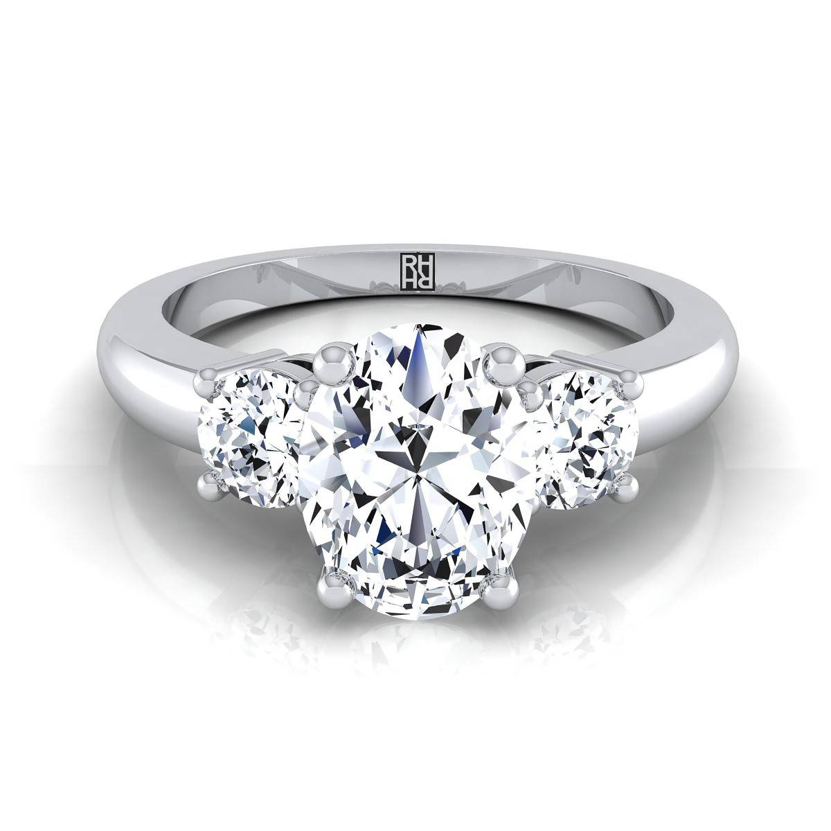 Three Stone Oval Diamond Center Engagement Ring 14K White Gold Pertaining To Side Stone Engagement Rings (View 15 of 15)